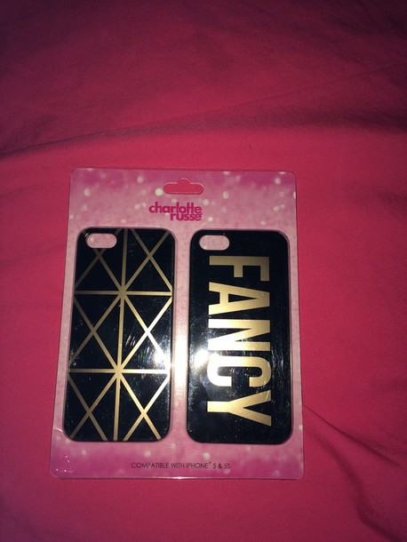 phone cover black fancy charlotte russe