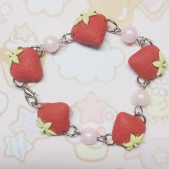 jewels stawberry handmade cute kawaii accessories pearl ankle bracelet