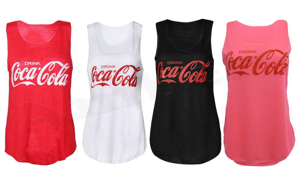 Ladies Drink Coca Cola Sleeveless Vest Top Girls Summer Tee Shirt UK 8 14 | eBay