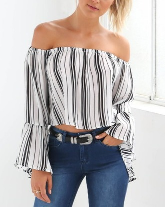 blouse girl girly girly wishlist crop crop tops cropped black white off the shoulder off the shoulder top boho boho chic stripes