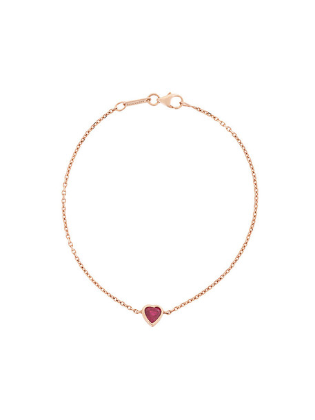heart rose gold rose women gold red jewels