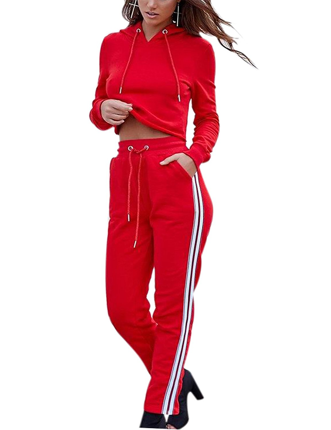 Swmmer Liket Womens Autumn Long Sleeve Hoodie Sports Sweatsuits 2 Piece Set at Amazon Women's Clothing store: