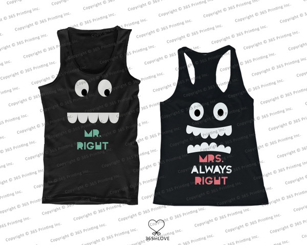 tank top newlyweds gift mr right mrs always right mr and mrs right mr and mrs mr and mrs shirts matching couples his and hers tank tops his and hers clothing his and hers gifts matching tank tops matching couples