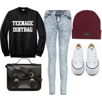 sweater jeans converse beanie hat pants