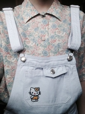 floral shirt overalls hello kitty hipster pastel grundge pastel goth pastel kawaii floral pastel grunge dungarees