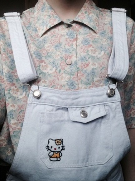 pastel pastel goth floral floral shirt button up blouse button up button down shirt overalls overall shorts hello kitty pocket t shirt hipster pastel grundge