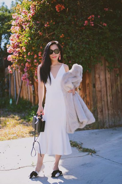 hallie daily blogger dress coat shoes bag sunglasses jewels midi dress white dress fur coat pumps handbag winter outfits