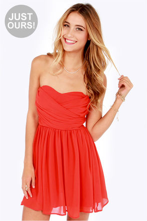 Lovely Strapless Dress - Orange Dress - Red Dress - Party Dress - $49.00