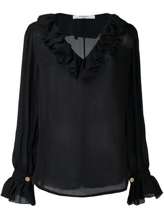 blouse sheer blouse sheer ruffle black top
