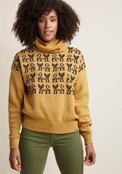 108653 sweater turtleneck vintage pretty cotton black checkered yellow