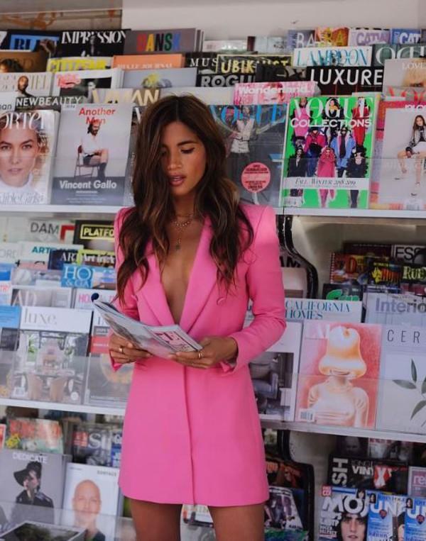 Zara Pink Frock Coat Blazer Dress Size S Worn Once