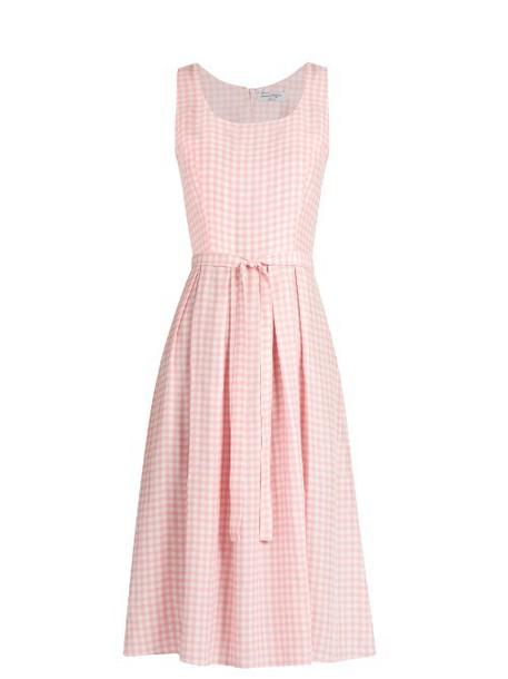 hvn dress sleeveless dress sleeveless gingham white pink
