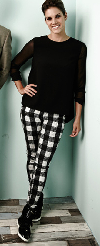 pants check black and white jeans missy peregrym gingham
