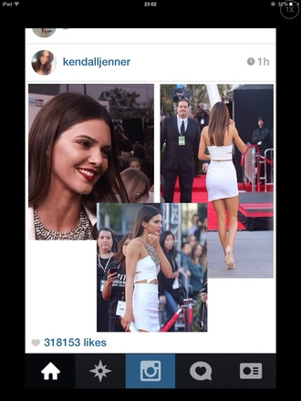 dress white dress diamonte dress kendall jenner red carpet gorgeous dress short party dresses bodycon