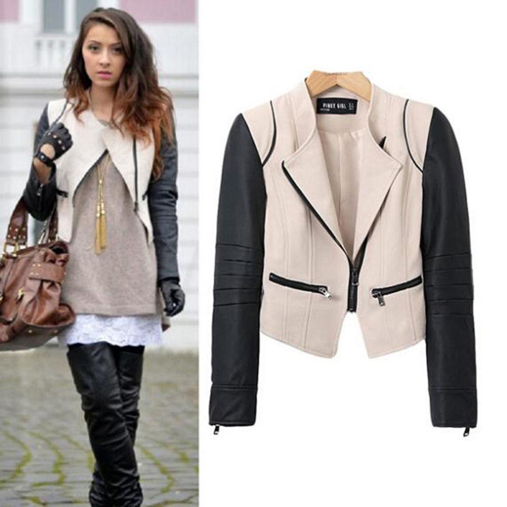 Vintage Women Stylish Slim Motorcycle Soft Leather Zipper Short Jacket Coat