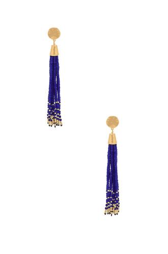 tassel beaded earrings metallic gold jewels