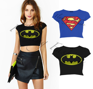 New Womens Superman Batman Logo Printed Cap Sleeve Crop Top Ladies Comic T Shirt | eBay