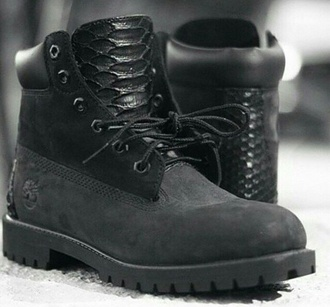 shoes all black everything timberlands streetwear style fashion snake skin custom timberlands custom shoes