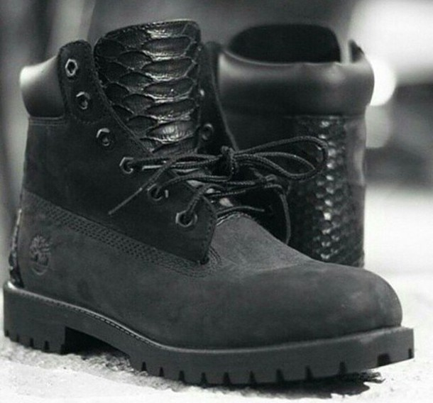 shoes timberland black with crocodil détails black  timberlands all black everything all black everything timberlands streetwear style fashion snake skin custom timberlands custom shoes