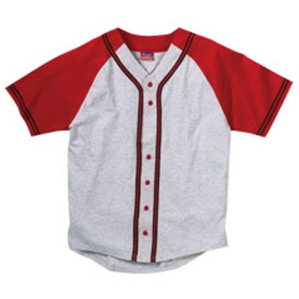 Champion Contrasting Raglan Sleeve Button-Front Baseball Jersey - Polyvore