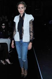 blouse,olivia palermo,shoes,jacket