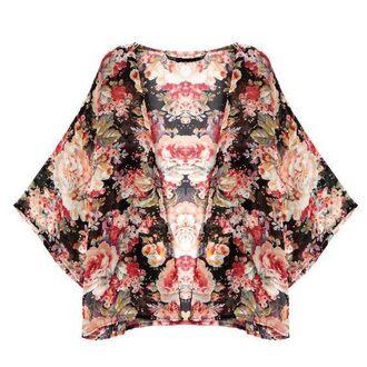 cardigan cape roses printed sheer kimono floral spring 2015 summer