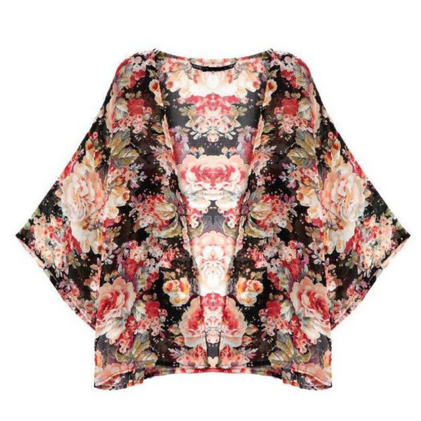 Cardigan: cape, roses, print, sheer, kimono, floral, spring 2015 ...