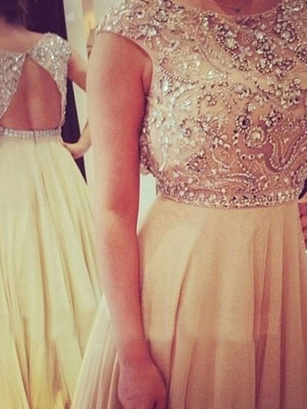 chiffon backless dress long prom dresses 2014 beaded prom dress evening dress formal dresses party dress elegant