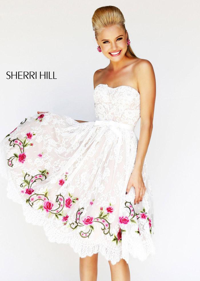 Knee-length White Cocktail Dress by Sherri Hill [Sherri Hill 21229 ...