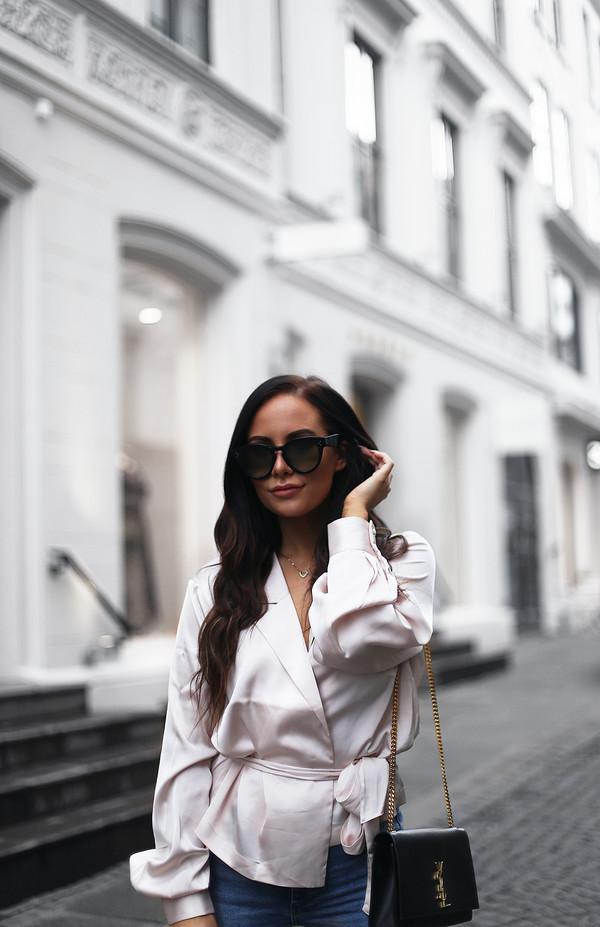 nataliaoona blogger shirt jeans bag shoes sunglasses ysl bag silk blouse