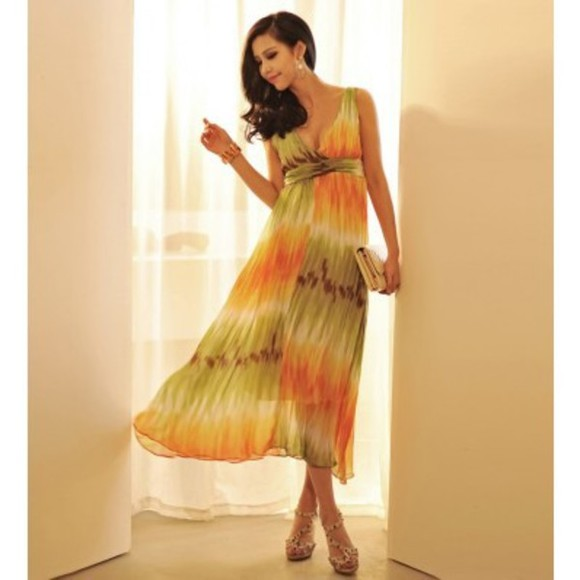high heels dress chiffon dress v-neck dress calf length dress empire waist sleeveless dress multi-coloured dress tie-dye dress tie dye maxi dress
