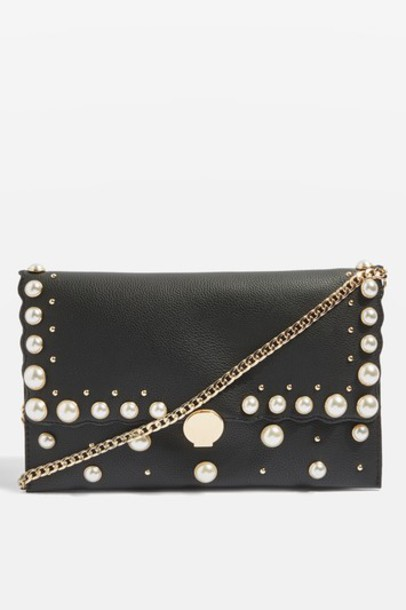 Topshop pearl bag clutch black