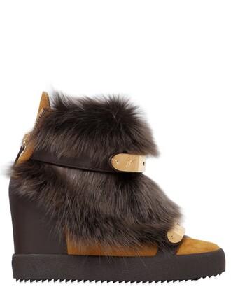 fur sneakers suede wedge sneakers brown shoes