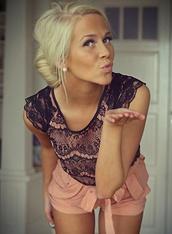 shirt,lace,black,pink,short sleeve,shorts,blouse
