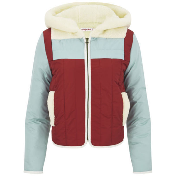 coat jacket clothes puffy see by cloe colorblock see by chloe color block jacket blue and red