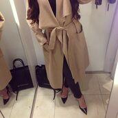 coat,caramel,jacket,wrap,waterfall,wrap tie,wrap waste tie,nude,nude coat,caramel coat,trench coat,oversized collar,oversized coat