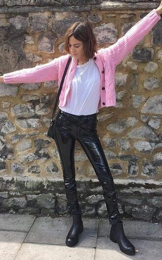 pants boots alexa chung cardigan festival pink sweater black pants leather pants