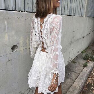 dress zimmermann alchemy twins embroidred dress romper girl girly girly wishlist lace white mynystyle white white dress lace lace up lace dress summer white lace boho boho chic boho dress white lace dress open back dresses