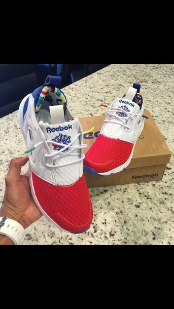 red white and blue reebok shoes
