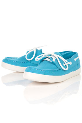 Tandem turquoise canvas deck trainers