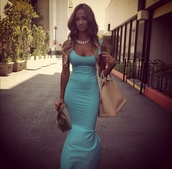 dress,aqua blue,mermaid,sundress,draya michele