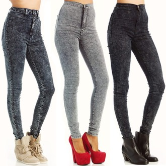 grey jeans jeggings high waisted jeans red lime sunday jeans