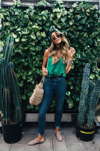 styled avenue blogger top shoes sunglasses headband green top loafers spring outfits