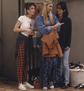 top 90's t-shirt tight t-shirt friends tv show rachel green t-shirt jacket shirt white t-shirt leggings retro friends plaid pants white 90s style