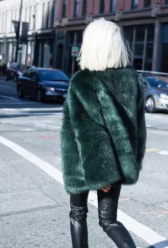 coat forest green faux fur