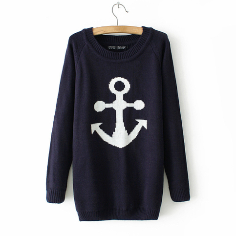 Navy blue anchor sweater from doublelw on storenvy