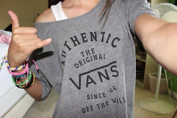 shirt grey t-shirt vans sweater