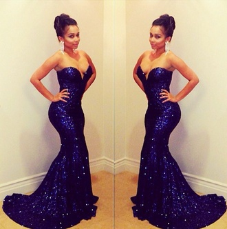 dress navy blue dress blue sequin dress formal dress long strapless dress