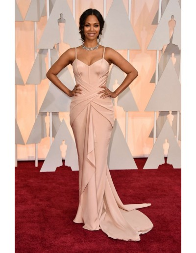Zoe saldana pink evening prom gown celebrity dresses oscar awards 2015 red carpet