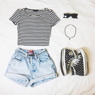 shorts jewels shirt sunglasses high waisted shorts converse high tops necklace high-wasted denim shorts high waisted denim shorts blackandwhite black & white stripes
